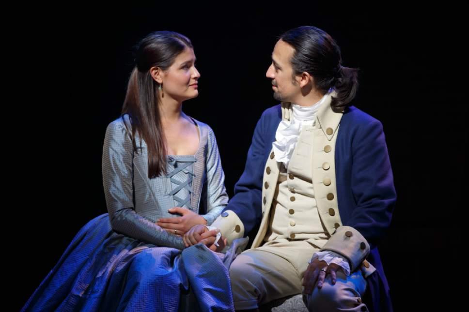 "Phillipa Soo and Lin-Manuel Miranda performing in ""Hamilton."" Courtesy of Joan Marcus"