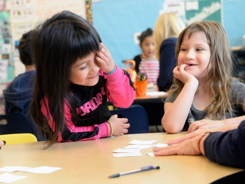 Al Hartmann  |  The Salt Lake Tribune Kindergartners at Midvale Elementary School play a spirited word-matching game in April 2014. The Title 1 school in Salt Lake County caters to a growing population of immigrants.