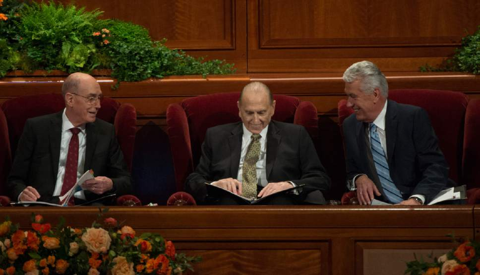 Leah Hogsten  |  The Salt Lake Tribune l-r First Counselor Henry B. Eyring, President Thomas S. Monson and Second Counselor Dieter F. Uchtdorf share a laugh during the afternoon session of the 186th Semiannual General Conference of The Church of Jesus Christ of Latter-day Saints in Salt Lake City, October 1, 2016.