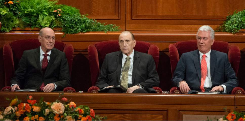 Leah Hogsten  |  The Salt Lake Tribune l-r First Counselor Henry B. Eyring, President Thomas S. Monson and Second Counselor Dieter F. Uchtdorf during the morning session of the 186th Semiannual General Conference of The Church of Jesus Christ of Latter-day Saints at the Conference Center in Salt Lake City, October 1, 2016.
