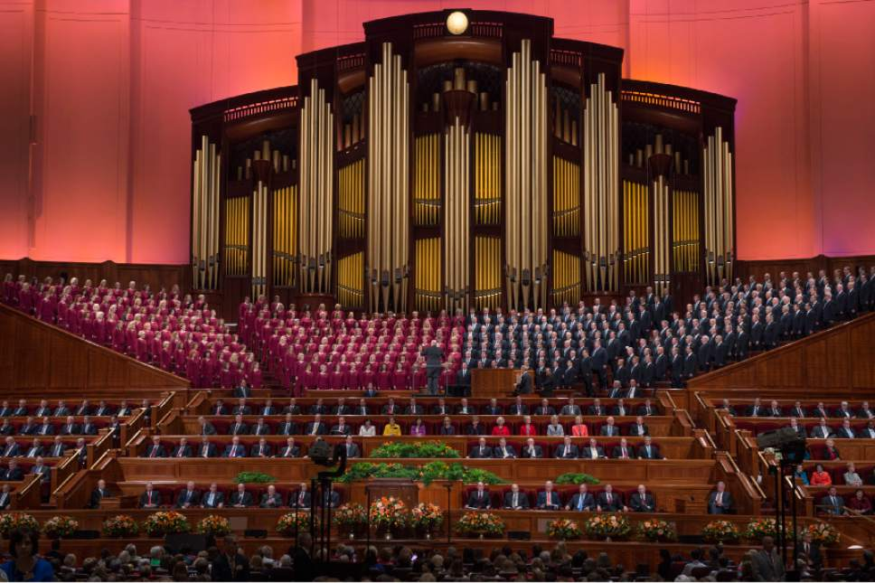 Leah Hogsten  |  The Salt Lake Tribune The Mormon Tabernacle Choir performs during the morning session of the 186th Semiannual General Conference of The Church of Jesus Christ of Latter-day Saints at the Conference Center in Salt Lake City in October.
