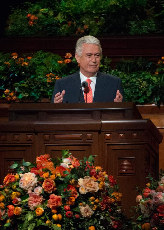 Leah Hogsten  |  The Salt Lake Tribune Second Counselor Dieter F. Uchtdorf addresses member during the morning session of the 186th Semiannual General Conference of The Church of Jesus Christ of Latter-day Saints in Salt Lake City, October 1, 2016.
