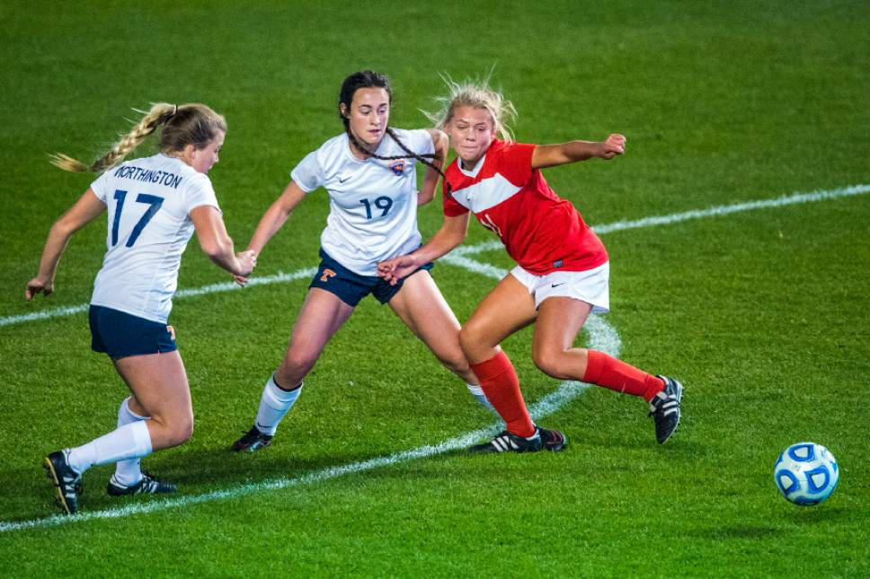Chris Detrick     The Salt Lake Tribune Timpview's Kamryn Worthington (17) Timpview's Jayne Schiess (19) and East's Sami Black (11) go for the ball during the 4A girls' state soccer championship at Rio Tinto Stadium Friday October 21, 2016.