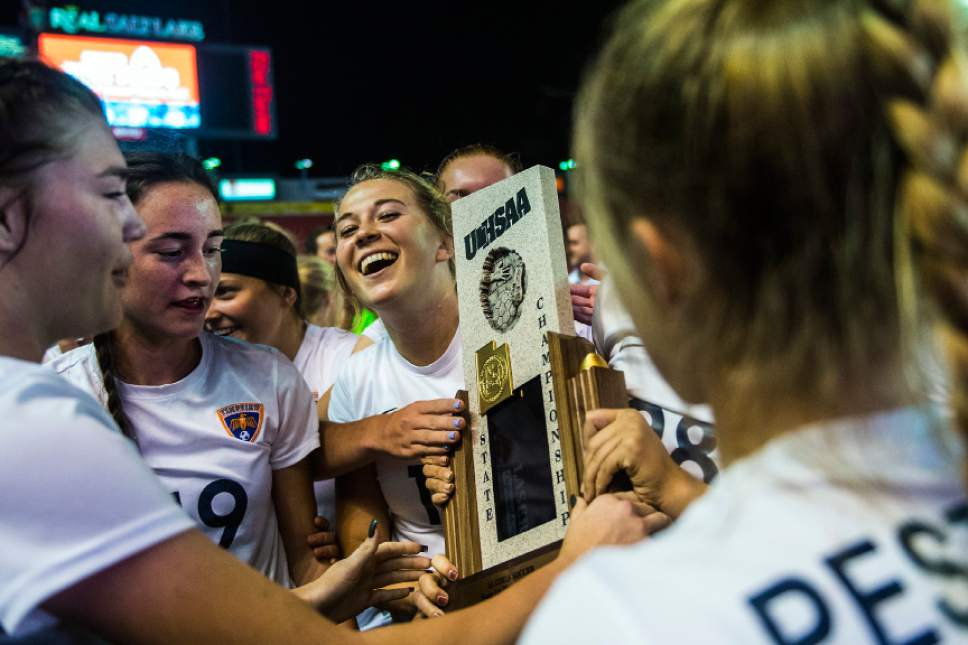 Chris Detrick     The Salt Lake Tribune Timpview's Kamryn Worthington (17) celebrates with her teammates after defeating East 2-0 in the 4A girls' state soccer championship at Rio Tinto Stadium Friday October 21, 2016.