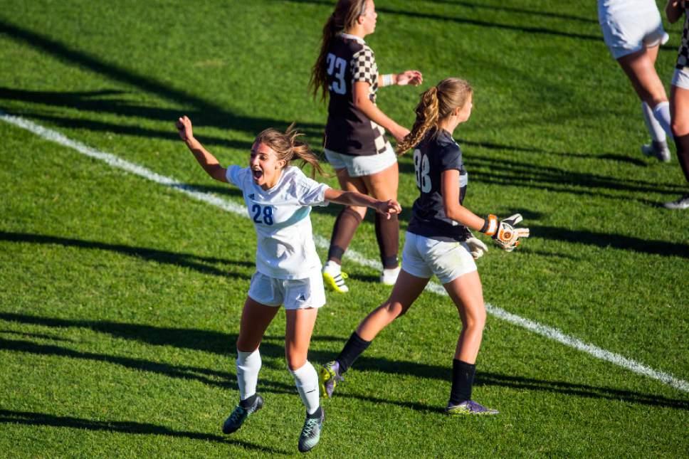 Chris Detrick  |  The Salt Lake Tribune Fremont's Courtney Talbot (28) celebrates after scoring a goal during the 5A girls' state soccer championship at Rio Tinto Stadium Friday October 21, 2016.
