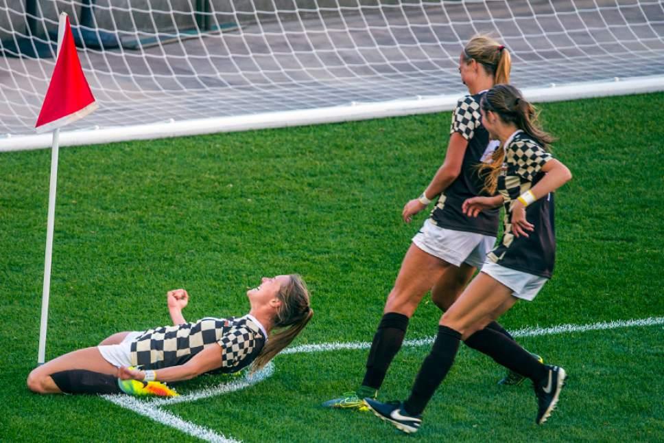 Chris Detrick  |  The Salt Lake Tribune Davis' Olivia Wade (10) celebrates after scoring a goal during the 5A girls' state soccer championship at Rio Tinto Stadium Friday October 21, 2016.