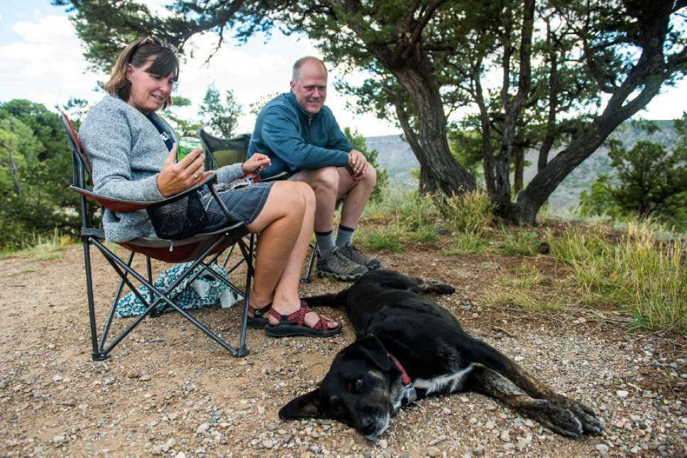 Chris Detrick  |  The Salt Lake Tribune Leslie and Shawn Vinson, of Denver, camp with their dog Hatch in Rio Grande del Norte National Monument, New Mexico Friday September 30, 2016.