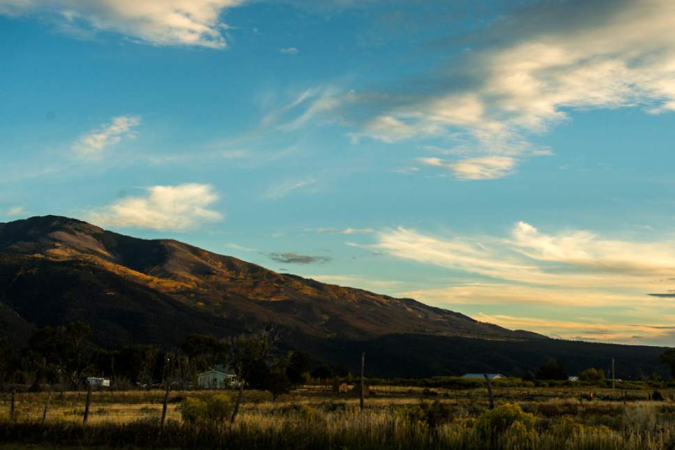 Chris Detrick  |  The Salt Lake Tribune Part of Questa, New Mexico with the Sangre De Cristo Mountains in the background Friday September 30, 2016.