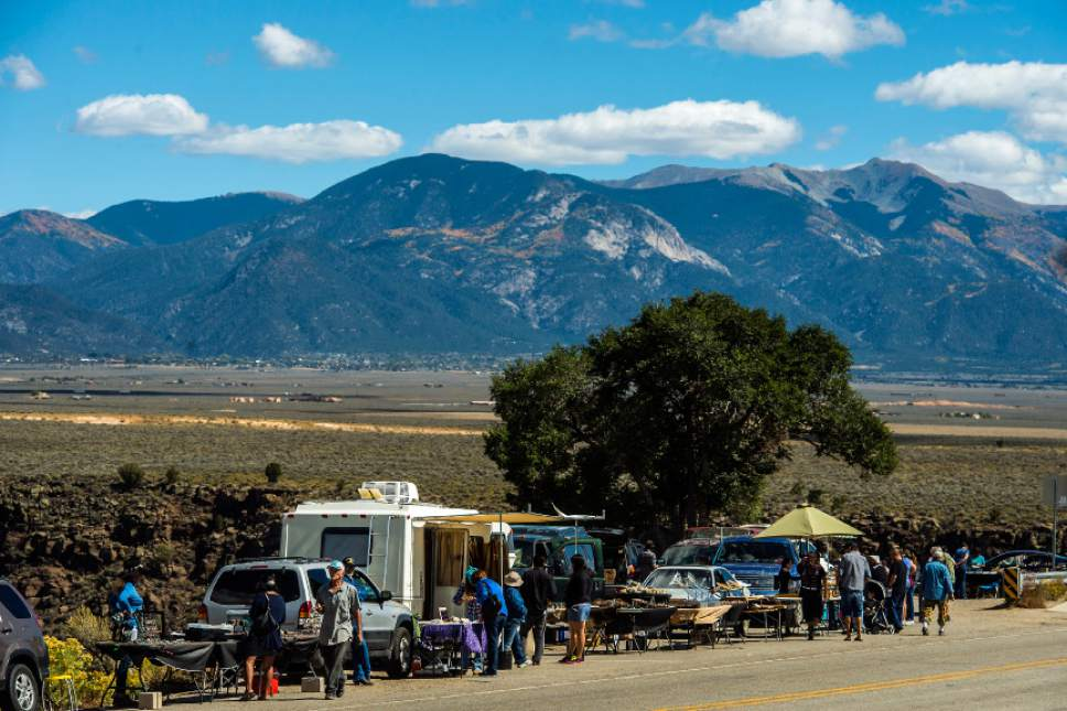 Chris Detrick  |  The Salt Lake Tribune Tourists look at merchandise and souvenirs being sold near the Rio Grande Gorge Bridge New Mexico Saturday October 1, 2016.