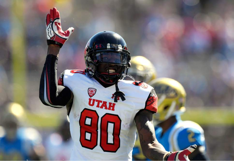 Utah wide receiver Siaosi Wilson celebrates a catch during the first half of an NCAA college football game against UCLA, Saturday, Oct. 22, 2016, in Pasadena, Calif. (AP Photo/Mark J. Terrill)