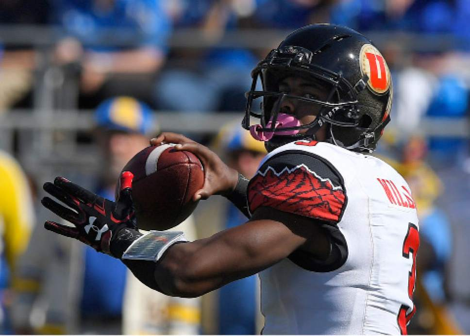 Utah quarterback Troy Williams passes during the first half of an NCAA college football game against UCLA, Saturday, Oct. 22, 2016, in Pasadena, Calif. (AP Photo/Mark J. Terrill)