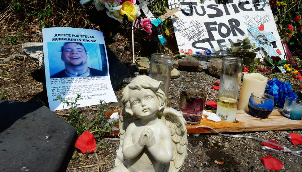 Scott Sommerdorf   |  The Salt Lake Tribune A roadside memorial has been put up for Stevan Chambers near 2900 S, and 9100 W in Magna, Wednesday, August 19, 2015. Chambers was killed Monday, and another body was found Wednesday at nearby Copper Park.