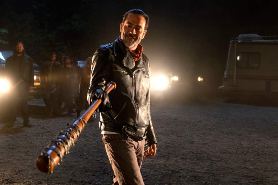 In this image released by AMC, Jeffrey Dean Morgan as Negan appears in a scene from 'The Walking Dead.' 'The Walking Dead' returned with a bloody bang for its seventh season as the victim of bat-wielding bad guy Negan was revealed in the Sunday, Oct. 23, 2016 premiere. (Gene Page/AMC via AP)