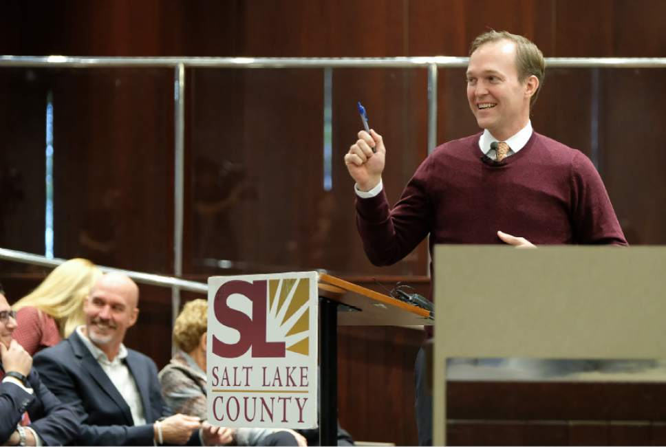 Francisco Kjolseth | The Salt Lake Tribune Mayor Ben McAdams gives his 2017 budget to the County Council on Tuesday, Oct. 25, 2016, in Salt Lake City.