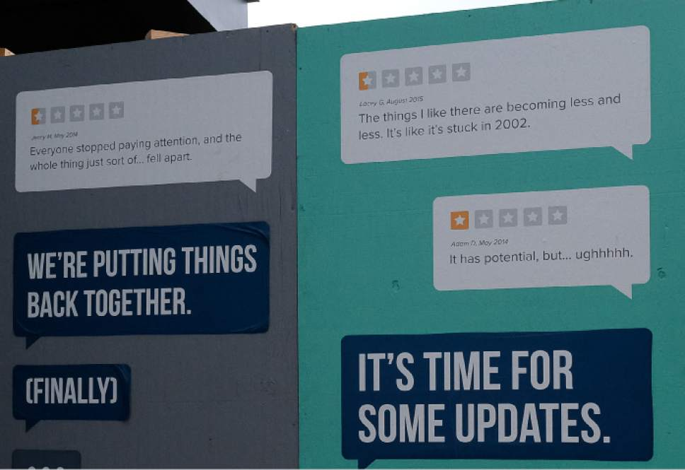 Francisco Kjolseth   The Salt Lake Tribune Poor reviews by Gateway critics are purposely posted alongside the remodeling taking place at The Gateway mall in Salt Lake City. There is current effort underway to improve the mall.