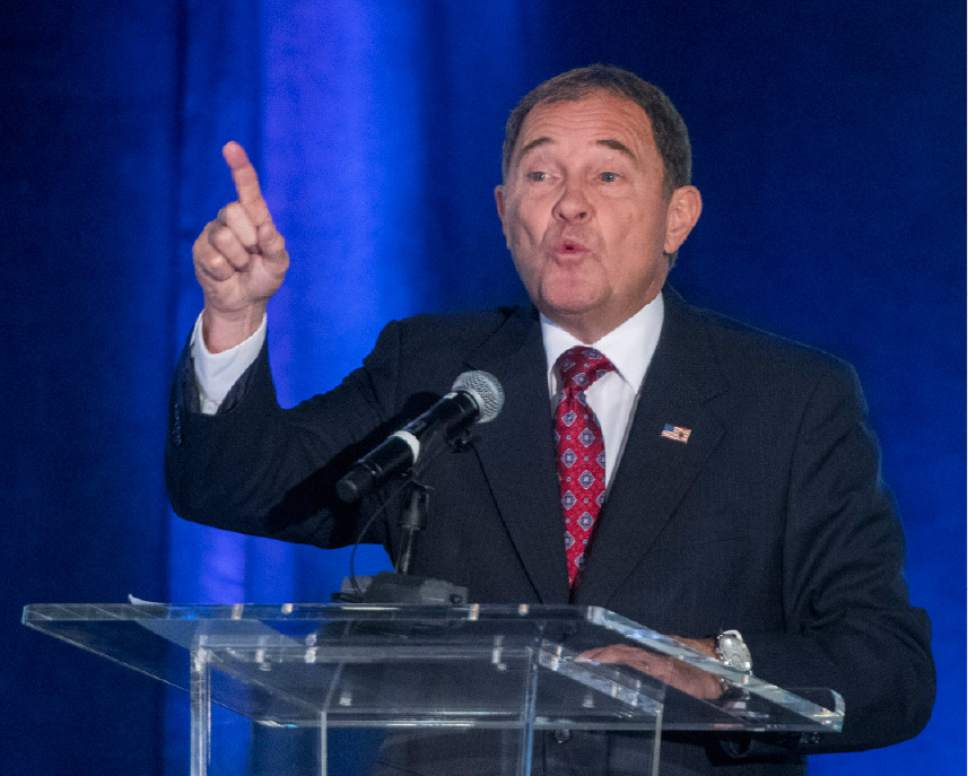 Rick Egan  |  Tribune file photo  Gov. Gary Herbert, left, with Mike Weinholtz, during the Utah League of Cities and Towns annual conference at the Sheraton, in Salt Lake City, Friday, September 16, 2016.