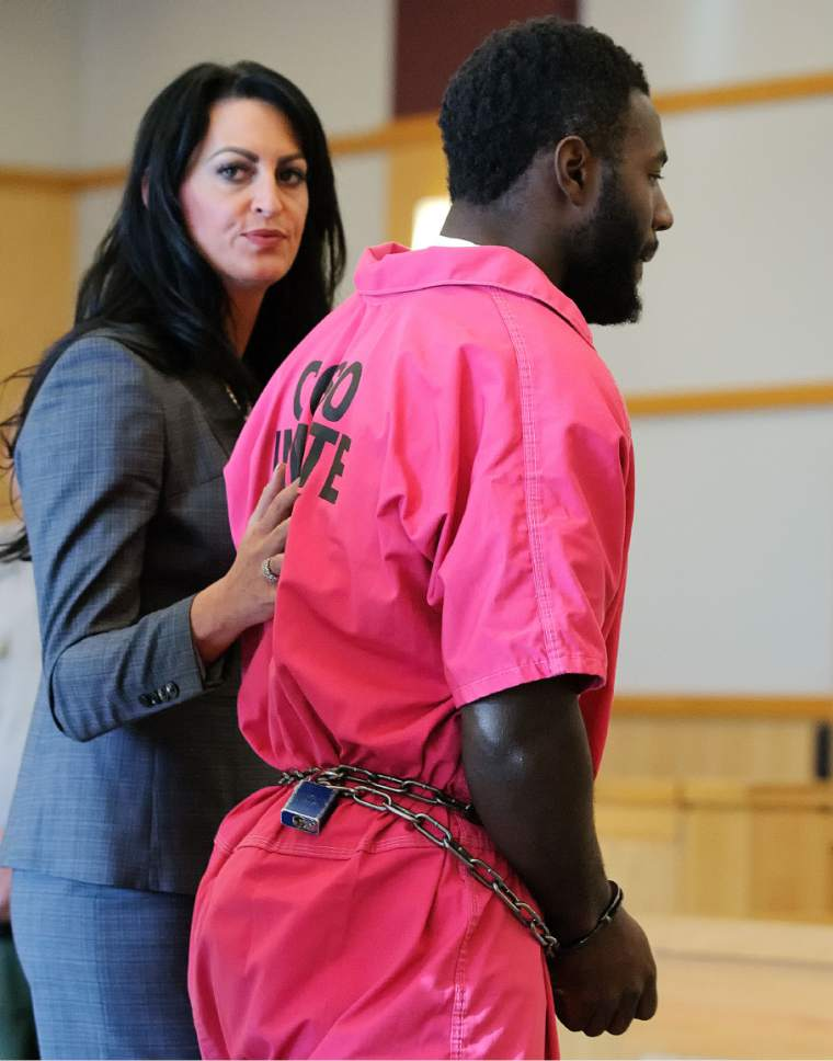 Torrey Green makes his initial appearance, with his lawyer Skye Lazaro, in 1st District Court on Tuesday, Oct. 25, 2016, in Logan, Utah. Green who played football at Utah State University has been charged with aggravated kidnapping, forcible sexual abuse, and four counts of rape. (Eli Lucero/Herald Journal)