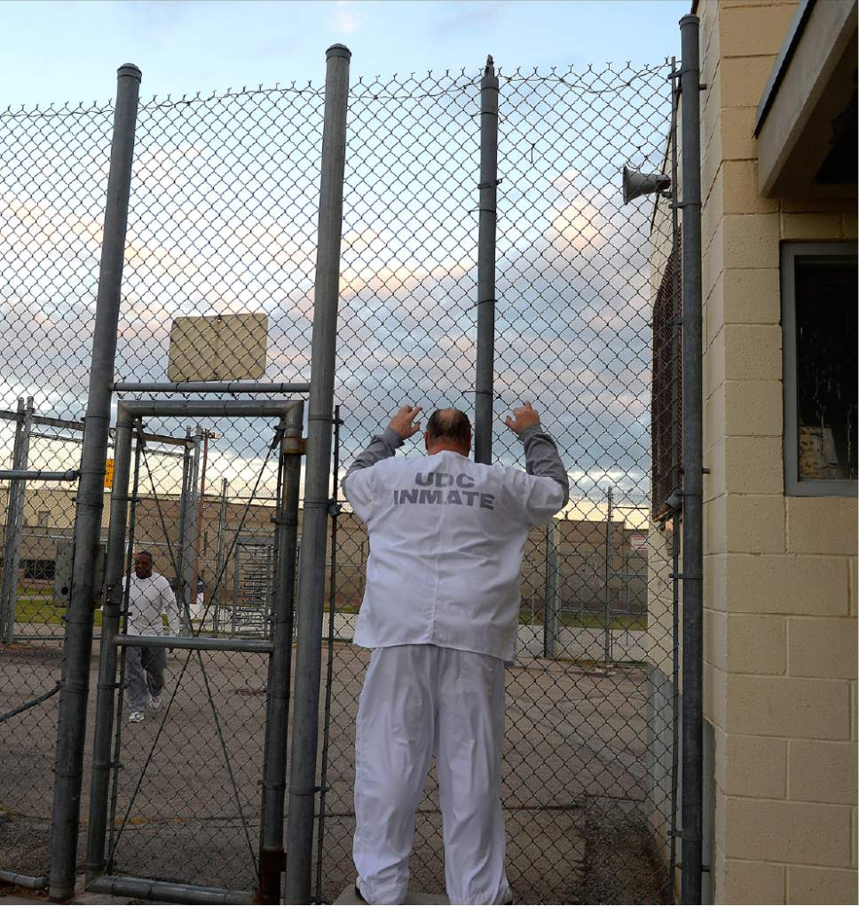 Al Hartmann  |  The Salt Lake Tribune Inmate in the Oquirrh Unit at the Utah State Prison-Draper waits to be let into excercise area Tuesday morning October 25.