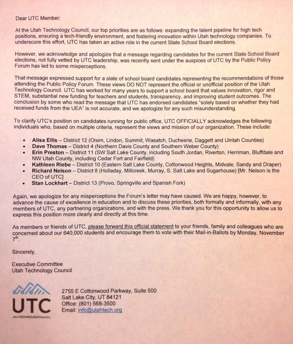 Courtesy of Alliance for a Better Utah A letter talks about Utah Technology Council's change of support for state school board candidates.