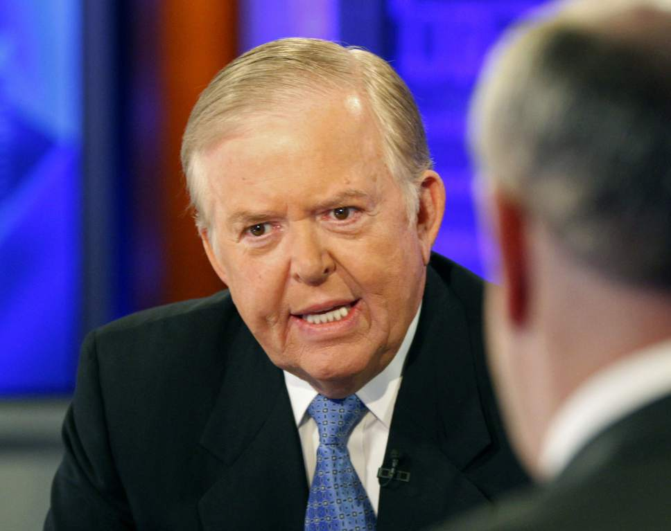 """FILE - In this Nov. 16, 2009 file photo, Lou Dobbs, left, speaks with Bill O'Reilly during taping a segment for Fox News channel's """"The O'Reilly Factor,"""" in New York."""