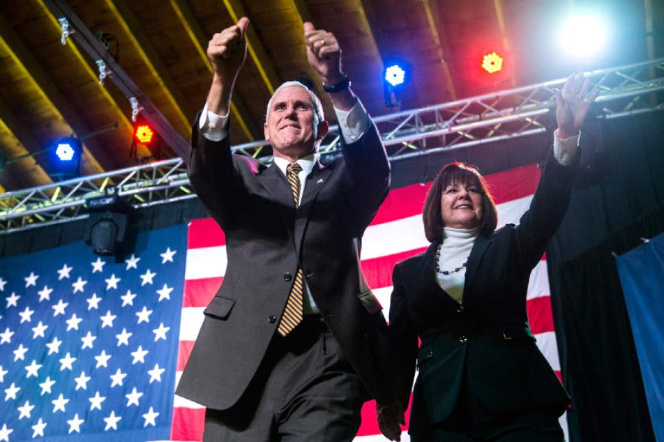 Chris Detrick  |  The Salt Lake Tribune Republican vice presidential nominee Mike Pence and his wife Karen Pence are introduced during a rally at the Infinity Event Center Wednesday October 26, 2016.