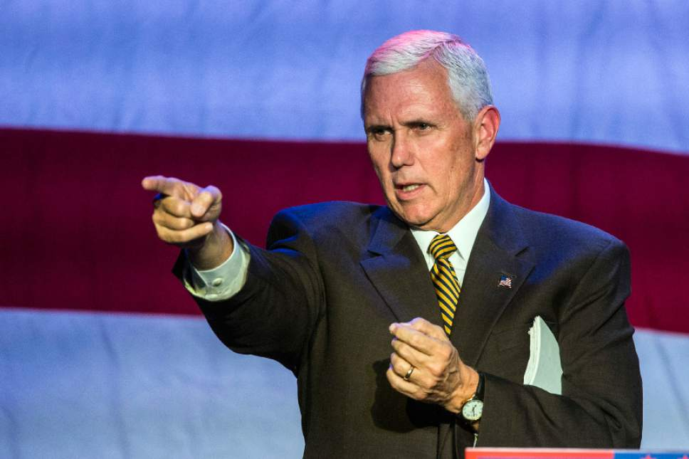 Chris Detrick  |  The Salt Lake Tribune Republican vice presidential nominee Mike Pence speaks during a rally at the Infinity Event Center Wednesday October 26, 2016.