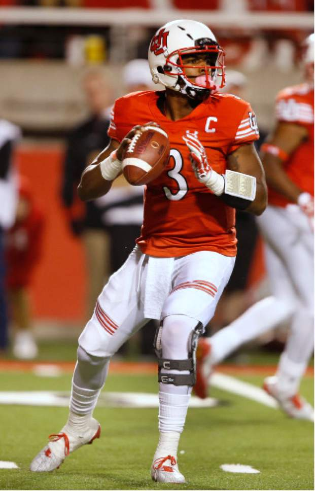 Utah quarterback Troy Williams looks to pass the ball during the second half of an NCAA college football game against Arizona, Saturday, Oct. 8, 2016, in Salt Lake City. Utah defeated Arizona 36-23. (AP Photo/George Frey)