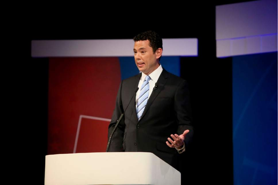 Dominic Valente  |  Pool Photo  Incumbent congressional candidate Jason Chaffetz speaks during a debate for Utah's 3rd district of the United States Congress Oct. 19, 2016 at Utah Valley University in Orem.