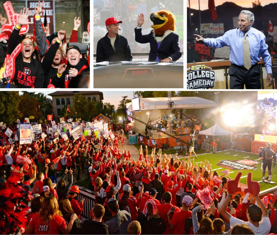 Salt Lake Tribune File Photos  Top left: Ute fans whoop it up behind the set of College GameDay. The ESPN College Gameday priogram did its broadcast at the University of Utah prior to the TCU at Utah game, Saturday, Nov, 6, 2010.  Top middle: John Stockton and Lee Corso laugh as Corso places the head of Swoop, Utah's mascot, on his head, predicting the Utes would defeat Cal. October 10, 2015.  Top right: James Rex, a self described BYU diehard fan, explains to a Universtiy of Utah police officer why he came to Rice Stadium for the taping of ESPN's Game Day wearing a provocative shirt. James and his brother Dale Rex, wearing a BYU sweatshirt were escorted behind a barrier for their own protection. Nov. 19, 2004.            Bottom: Hundreds of fans cheered for their teams Saturday, October 10, 2015, at The University of Utah's President's Circle before Utah faced Cal.