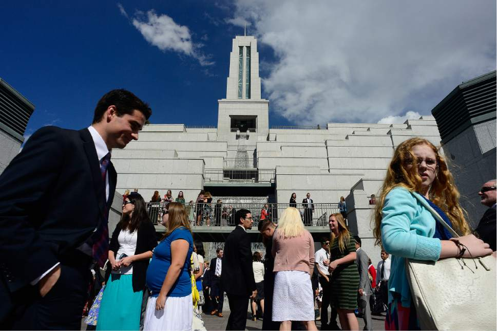 Scott Sommerdorf   |  The Salt Lake Tribune   Thousands of conference attendees moved about after the morning session of 186th Semiannual General Conference of the LDS church, Sunday, October 2, 2016.