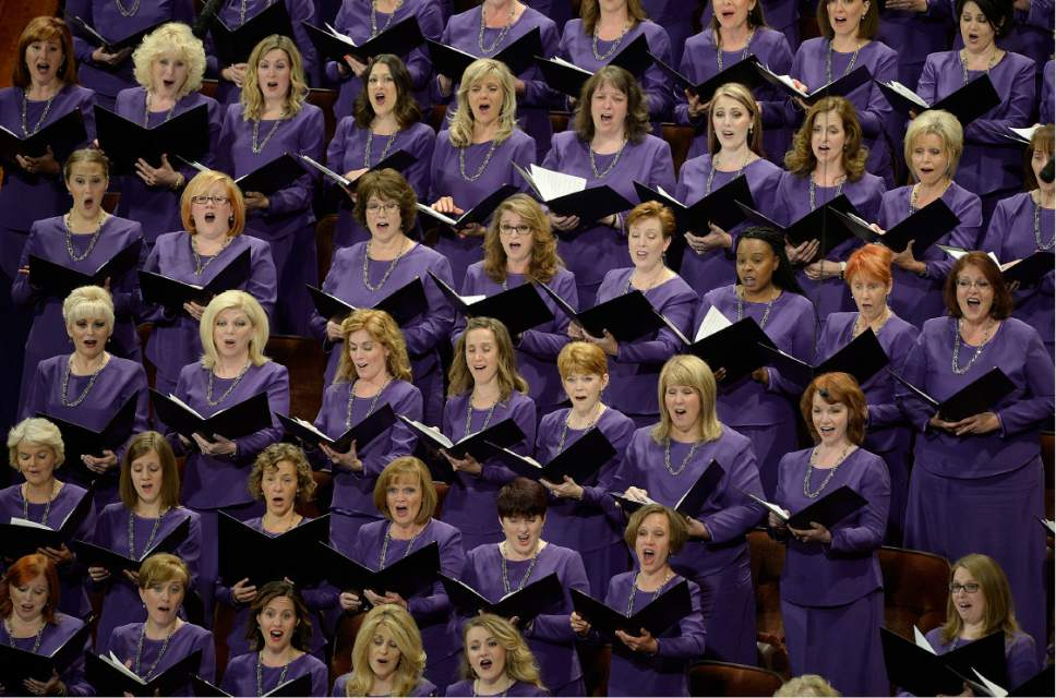Scott Sommerdorf   |  The Salt Lake Tribune   The Mormon Tabernacle Choir sings during the afternoon session of 186th Semiannual General Conference of the LDS church, Sunday, October 2, 2016.