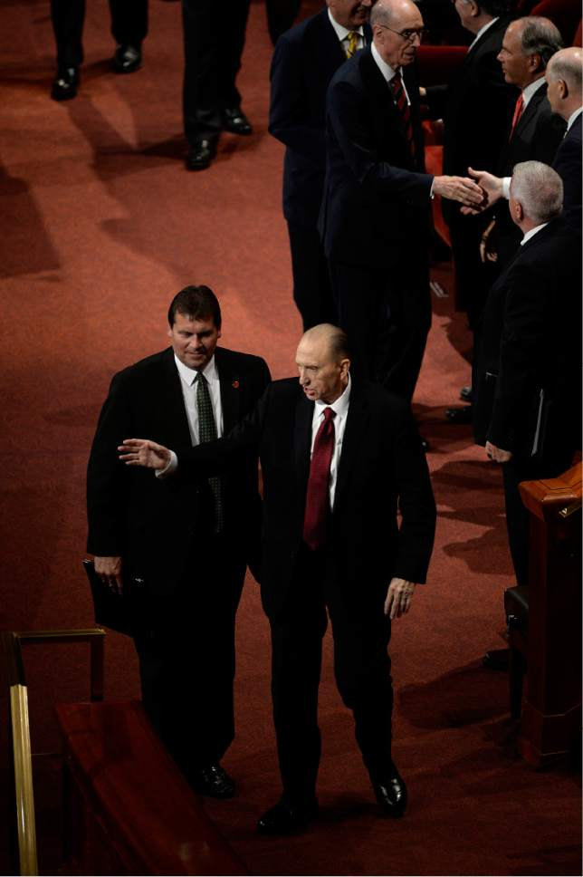 Scott Sommerdorf   |  The Salt Lake Tribune   President Thomas S. Monson leaves the afternoon session of 186th Semiannual General Conference of the LDS church, Sunday, October 2, 2016.