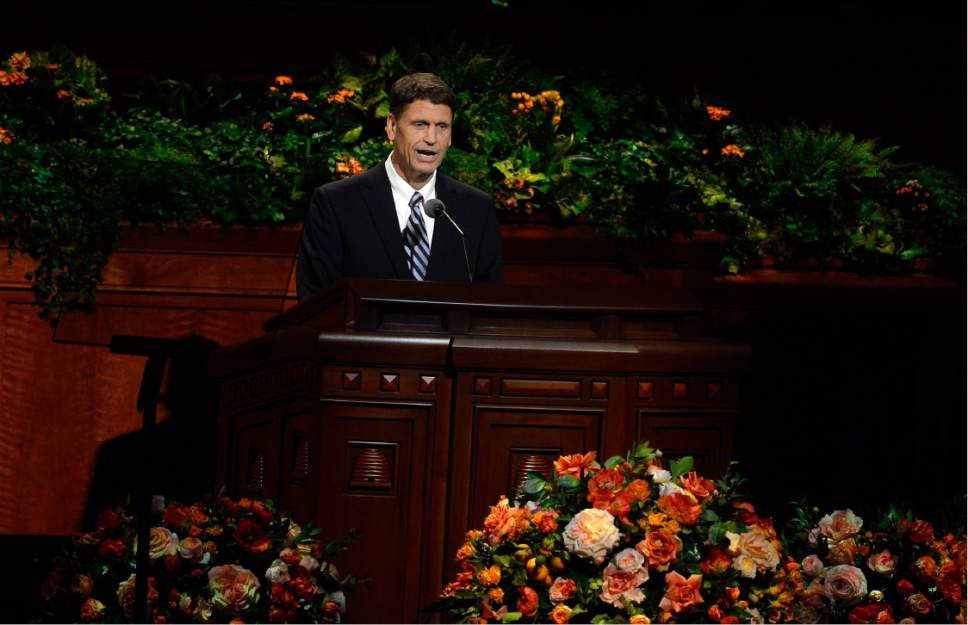 Scott Sommerdorf   |  The Salt Lake Tribune   Elder Carl B. Cook of the Seventy spoke at the afternoon session of 186th Semiannual General Conference of the LDS church, Sunday, October 2, 2016.