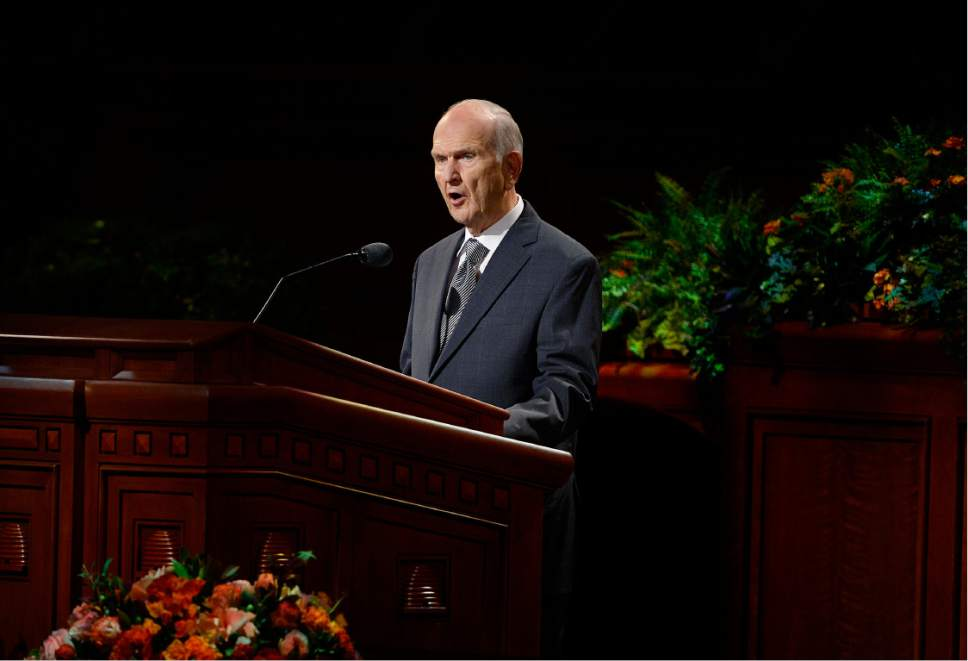 Scott Sommerdorf   |  The Salt Lake Tribune   President Russell M. Nelson speaks at the 186th Semiannual General Conference of the LDS church, Sunday, October 2, 2016.