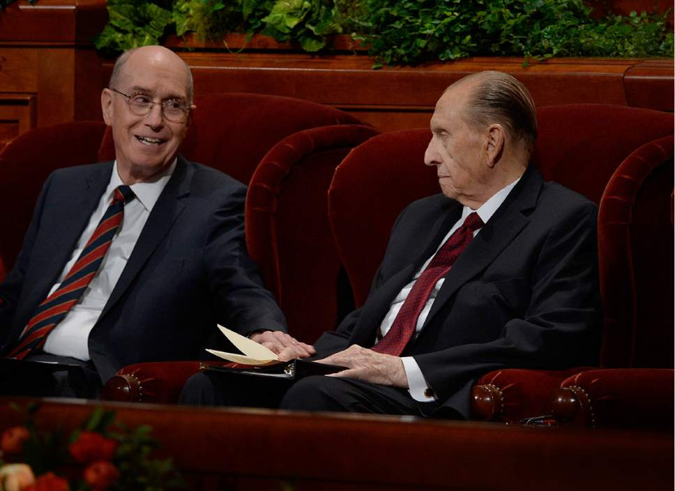 Scott Sommerdorf   |  The Salt Lake Tribune   First Counselor Henry B. Eyring, reaches over and speaks to President Thomas S. Monson prior to Monson's short talk at the 186th Semiannual General Conference of the LDS church, Sunday, October 2, 2016.