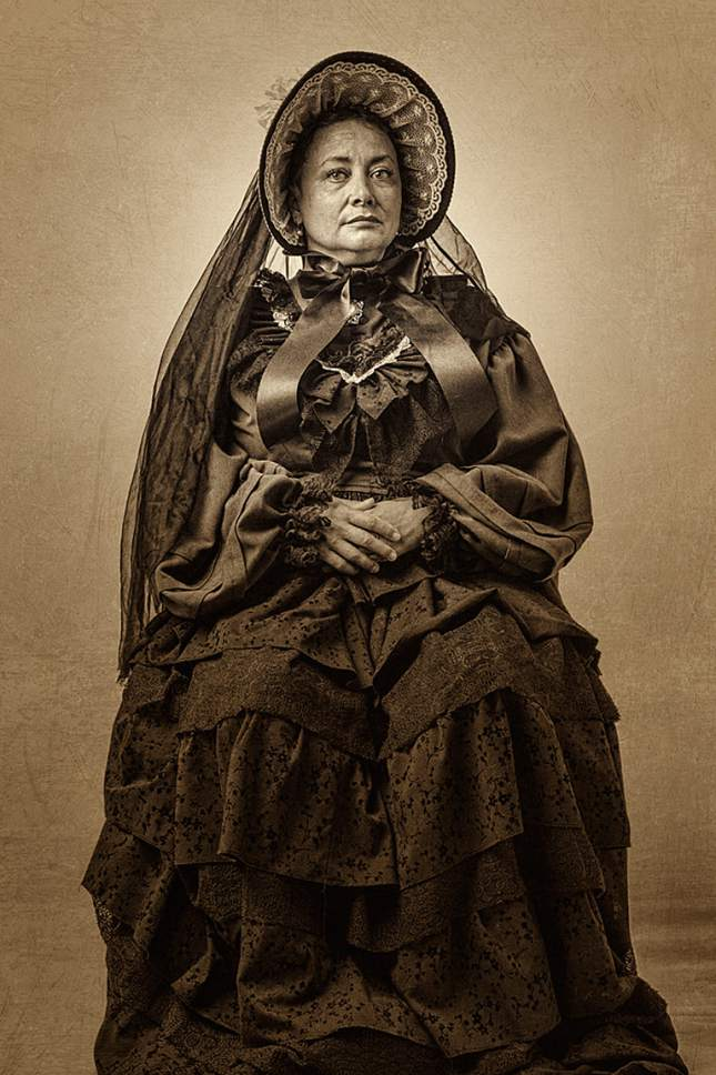 """Courtesy photo by Robert Holman  Actor Tamara Howell plays Mary Todd Lincoln in Pygmalion Productions' """"Mary and Myra."""""""