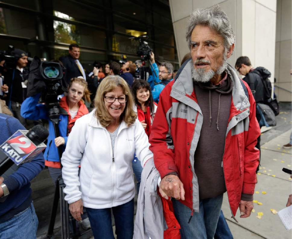 Defendant Neil Wampler leaves federal court in Portland, Ore., Thursday, Oct. 27, 2016. A jury exonerated brothers Ammon and Ryan Bundy and five others of conspiring to impede federal workers from their jobs at the Malheur National Wildlife Refuge. (AP Photo/Don Ryan)