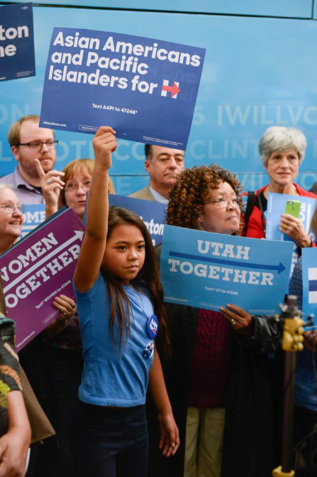 Francisco Kjolseth | The Salt Lake Tribune Supporters of Hillary Clinton attend a rally by Donna Brazile, chairwoman of the DNC, who stopped at the Salt Lake City and County building on Thursday, Oct. 27, 2016.