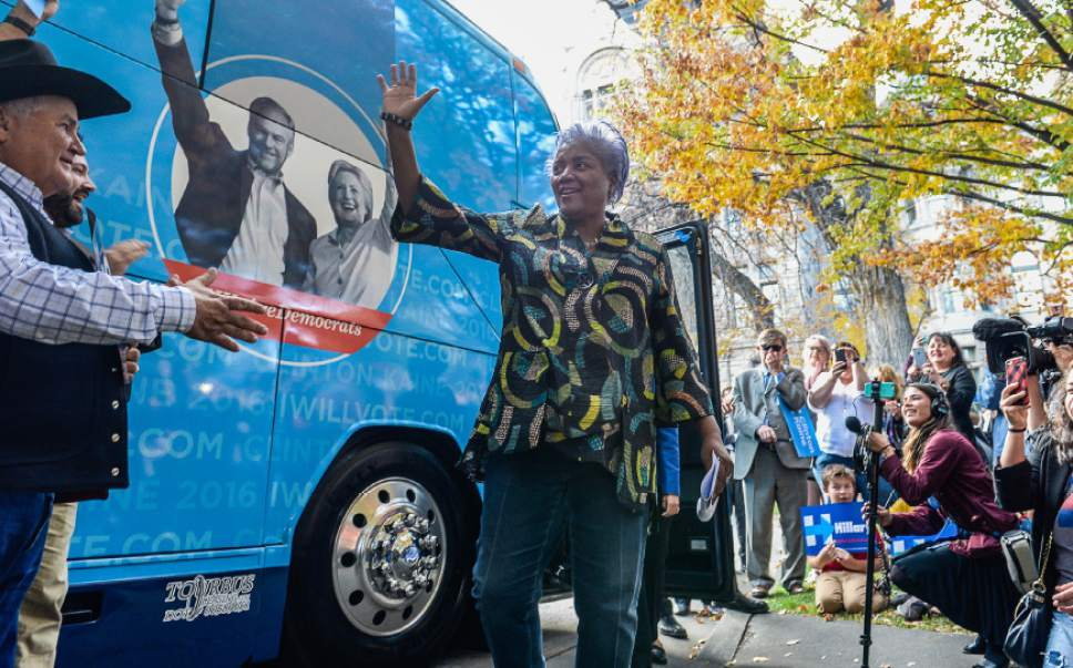 Francisco Kjolseth | The Salt Lake Tribune Donna Brazile, chairwoman of the DNC, arrives for a rally at the Salt Lake City and County building to speak in support of Hillary Clinton and other Democrats running for office on Thursday, Oct. 27, 2016.