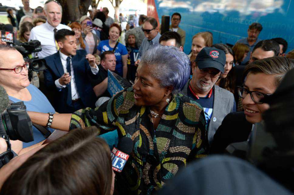 Francisco Kjolseth | The Salt Lake Tribune Donna Brazile, chairwoman of the DNC, greets the crowds gathered at a Hillary Clinton rally during a stop at the Salt Lake City and County building on Thursday, Oct. 27, 2016.