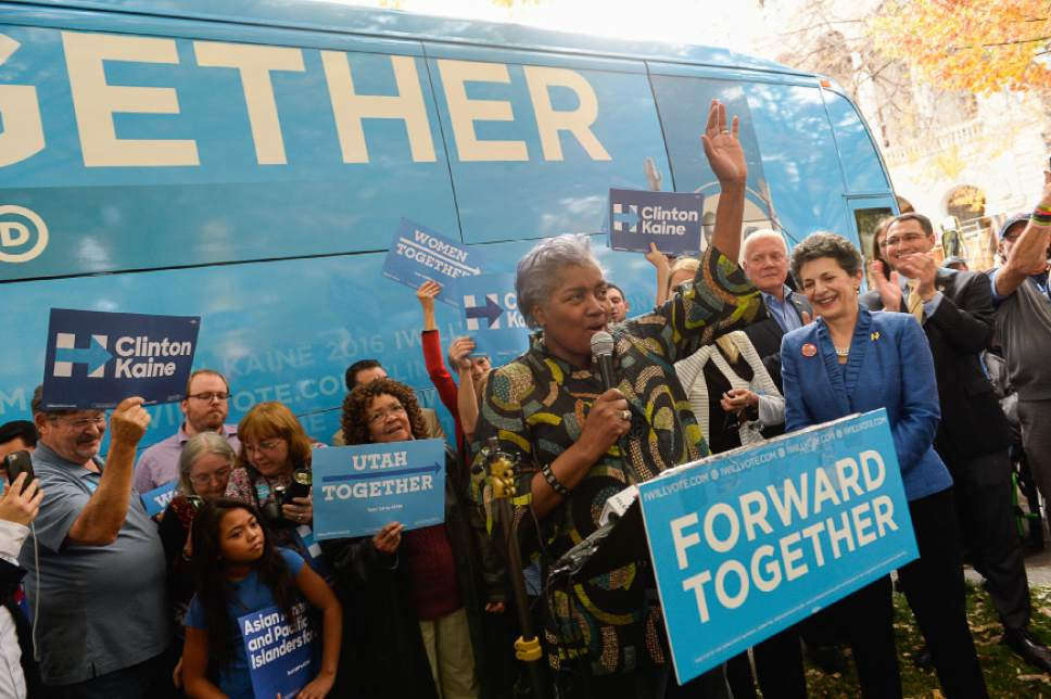 Francisco Kjolseth | The Salt Lake Tribune Donna Brazile, chairwoman of the DNC, acknowledges the crowd gathered during a rally stop at the Salt Lake City and County building in support of Hillary Clinton and other Democrat races on Thursday, Oct. 27, 2016.