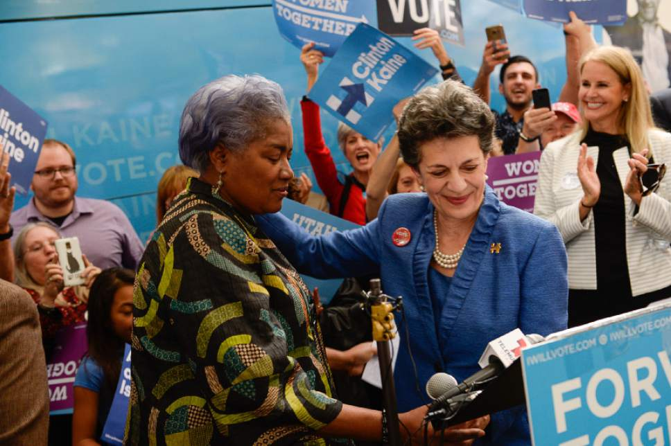 Francisco Kjolseth | The Salt Lake Tribune Donna Brazile, left, chairwoman of the DNC, left, is introduced by House Representative Patrice Arent during a rally stop at the Salt Lake City and County building on Thursday, Oct. 27, 2016.
