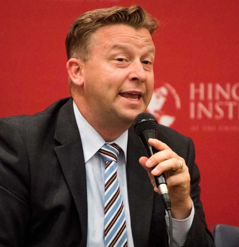 Rick Egan  |  The Salt Lake Tribune  Sen. Todd Weiler, speaks during a panel discussion at the Hinckley Institute, during a discussion on how religion and politics mix, Monday, October 3, 2016.