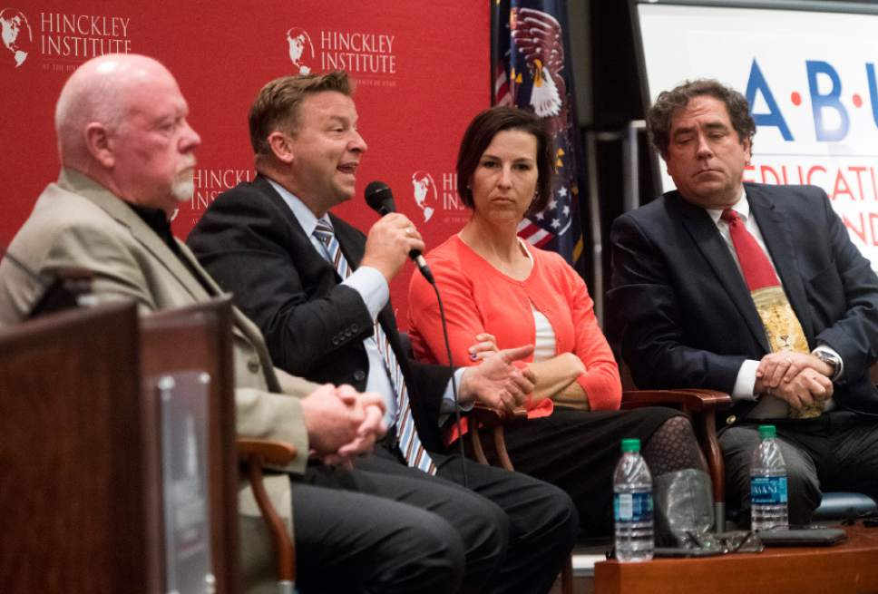 Rick Egan  |  The Salt Lake Tribune  Sen. Howard Stephenson, Sen. Todd Weiler, State House Democratic candidate Suzanne Harrison and Utah State Rep. Brian King participate in a panel discussion at the Hinckley Institute, on how religion and politics mix, Monday, October 3, 2016.