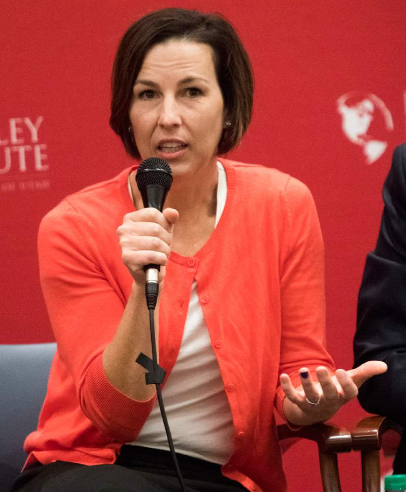 Rick Egan  |  The Salt Lake Tribune  Utah State House Democratic candidate Suzanne Harrison speaks during a panel discussion at the Hinckley Institute, during a discussion on how religion and politics mix, Monday, October 3, 2016.