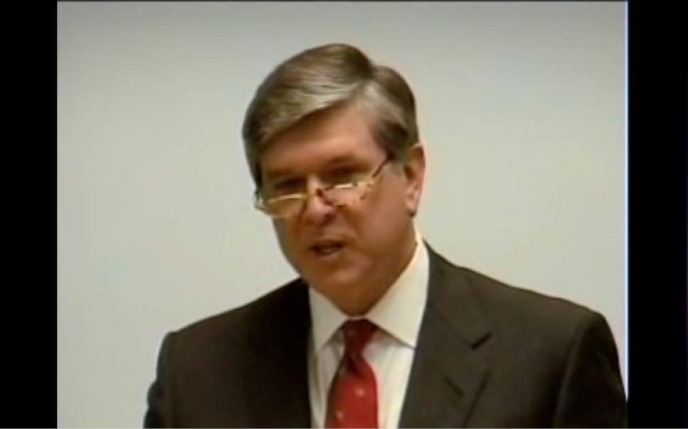 Courtesy image  A screen shot from a leaked video showing LDS leaders discussing politics with former Oregon Sen. Gordon Smith.