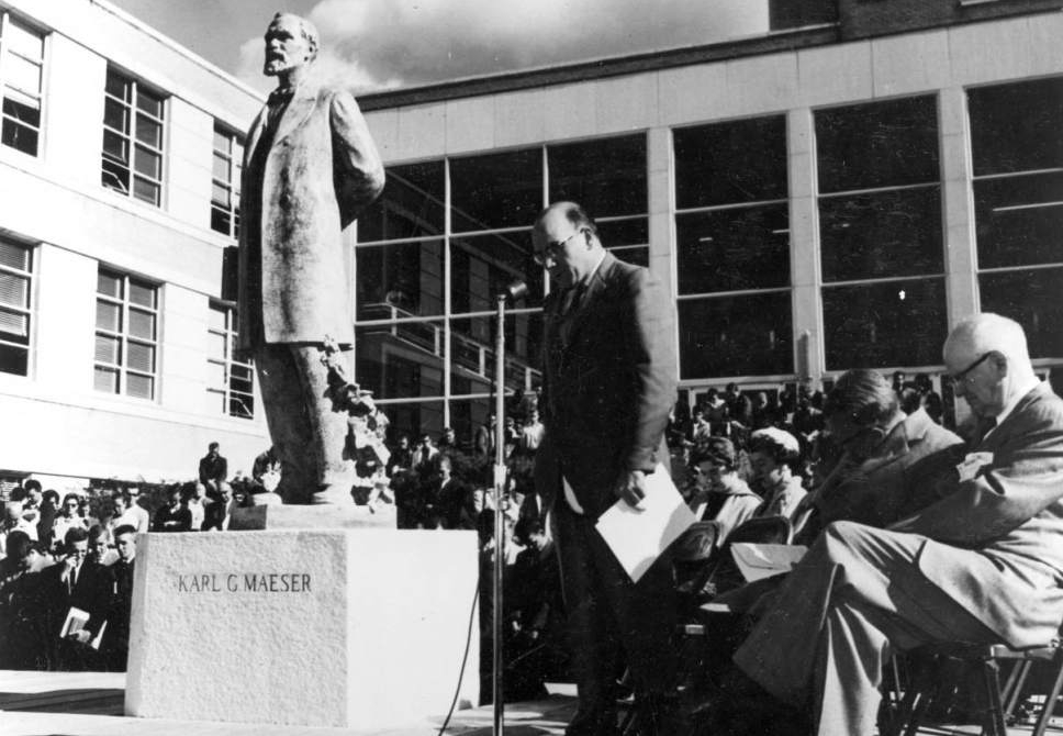 (Used by permission of the Utah State Historical Society) A statue of Brigham Young University founding president Karl Maeser is unveiled Nov. 7, 1958, on BYU's campus in Provo.