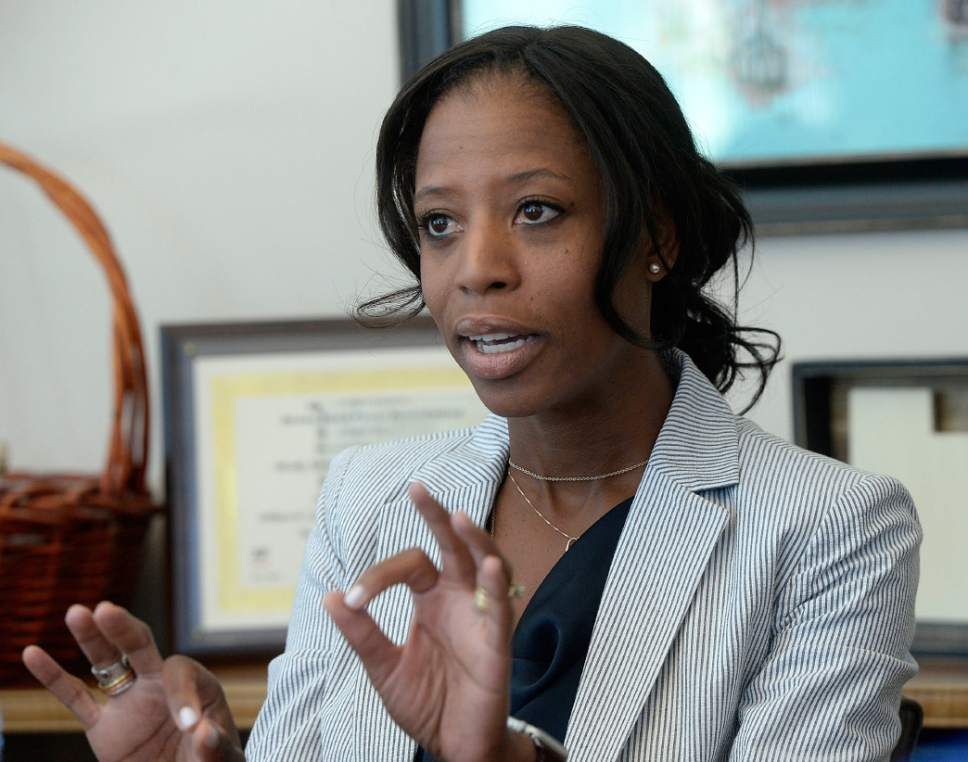 Al Hartmann  |   Tribune file photo Utah Rep.  Mia Love meets with The Salt Lake Tribune's editorial board, Aug. 30, 2016.