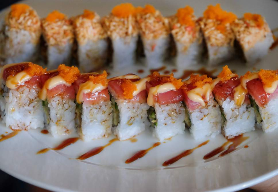 Francisco Kjolseth  |  The Salt Lake Tribune Hanabi Sushi in Midvale, which opened in April, offers a large variety of sushi rolls, ramen, tempura and other Japanese delights. Seen here are the Playboy, front, and Alaska rolls.