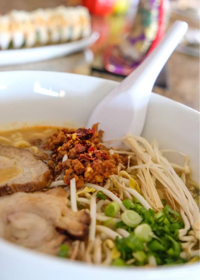 Francisco Kjolseth  |  The Salt Lake Tribune Hanabi Sushi in Midvale serves an order of Akai (spicy ramen) with miso paitan, spicy ground pork and rich pork broth.